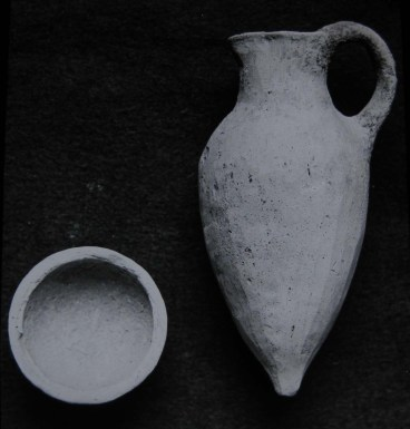 Bowl and juglet, photographed by H. Crowther.   Leeds Museums and Galleries