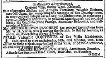Sale advertisement © The Leeds Mercury, Saturday 19th March 1881