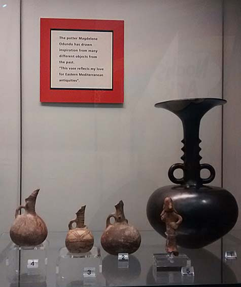 Display of ancient and modern ceramics © Nottingham Castle Museum