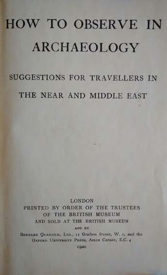 Title page of How to Observe in Archaeology